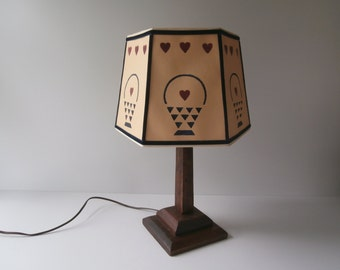 Vintage Cut & Pierced Paper Lamp Shade, Country Style Hexagon Lamp Shade for Table Lamp, Painted Hearts and Baskets, 1980s Lampshade, Spider
