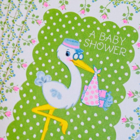 vintage hallmark stork baby shower invites