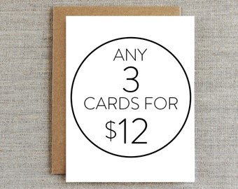 Mix & Match RHUBARB PAPER CO. Greeting Cards - 3 For 12 Dollars!