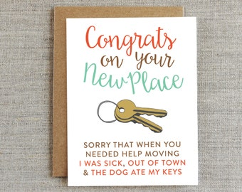 Funny Moving Card, New Home Card, Housewarming Card, New House Card, Congratulations Card, New Place Card, New Apartment Card