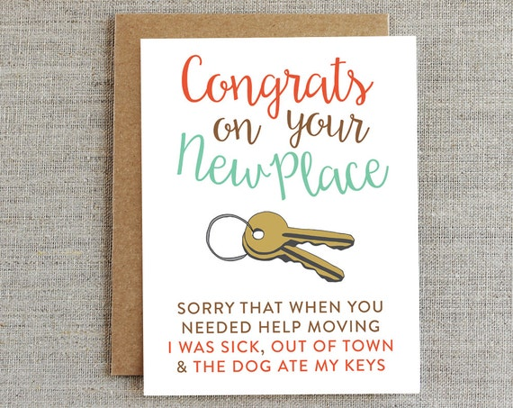 Funny moving card new home card housewarming card new house for Gifts for first apartment