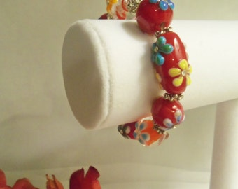 Sale- Unique Women's HandCrafted RED Multi Color Lampwork FLOWERS w/ Crystals Stretch Bracelet- Birthday Gift Her Mom Mother Teen. Jewelry