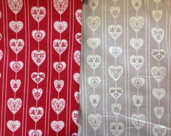 Makower scandi christmas hearts in grey or red by the half metre 100% cotton
