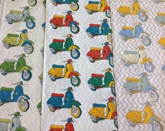 Fabric freedom Retro roadtrip 100% cotton motorbike design in green, multi or yellow by the half metre