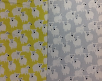 Sheep farm friends by studio e in grey or lime 100% cotton fabric by the half metre