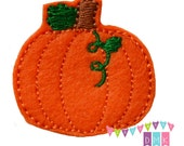 Pumpkin with Vine SHORT Felt Embroidered Embellishment Clippie Cover SET of 4 - Multiple Sets Available