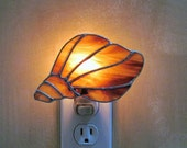 Conch Shell Night Light in a Brown and White Opal Swirl Glass- Handcrafted Authentic Stained Glass - Great Gift Idea