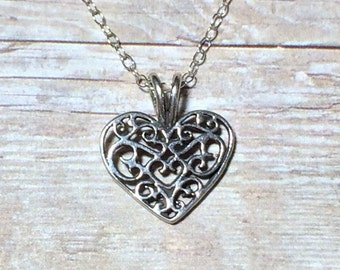 Heart Necklace Love Valentine Women's Gift Sterling Silver Filigree Heart Anniversary