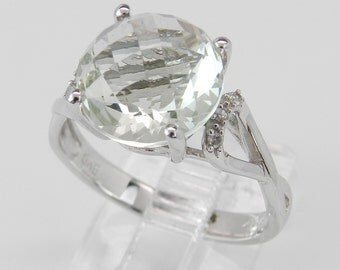 Diamond and Green Amethyst Engagement Ring Promise Ring White Gold Ring Statement Size 6.5