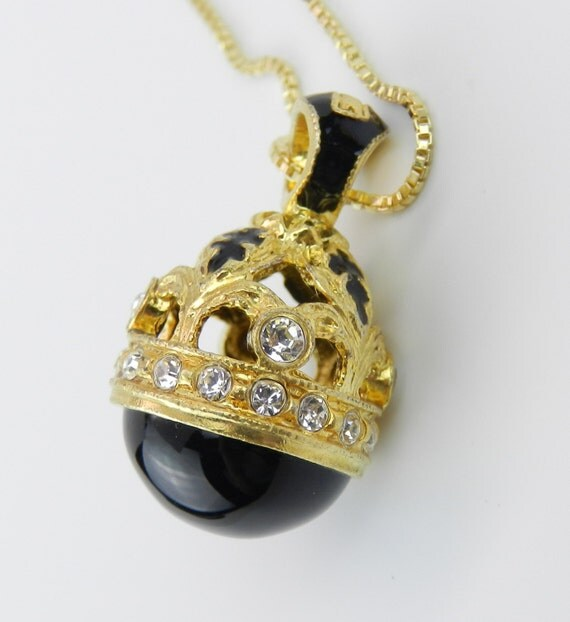 "18K Yellow Gold over Sterling Silver Black Enamel and Black Onyx Swarovski Crystal Pendant with Chain 20"" Faberge Style Egg"