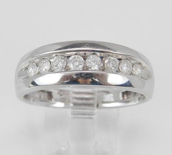 Mens White Gold 1/2 ct Round Diamond Wedding Band Anniversary Ring Size 10.75