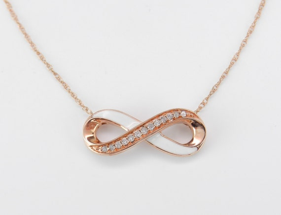 Diamond and White Enamel Infinity Pendant Necklace Pink Gold Rose Gold Chain 18""