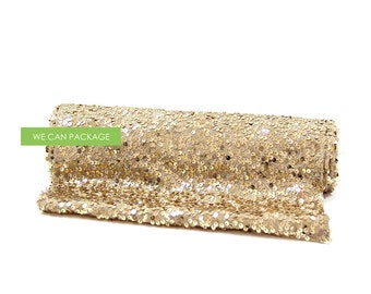 "GOLD Sequin Table Runner 12"" x 96"""