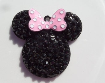48mm, Pink and Black Minnie Mouse Inspired Pendant, P26