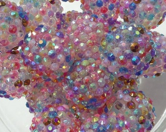 20mm, 10CT, Speckled Chunky Rhinestone Beads, Rhinestone Beads, 20mm, Sparkly Beads, Bumpy Beads