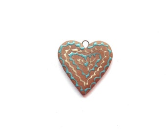 Terracotta Heart Pendant  Handmade Ceramic Heart Turquoise and Cream Heart Pendant