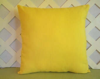 Outdoor Pillow Cover/ Solid Yellow Pillow Cover/ Yellow Outdoor Pillow Cover/ Patio Deck Pillow/ Decorative Pillow/ Accent Pillow