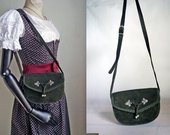 Vintage Leather Bag German dirndl shoulder bag Austrian fashion Folk Suede Wood green Purse Boho Hippie Oktoberfest small bag saddle