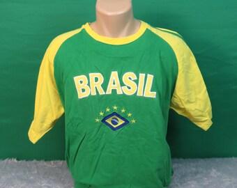 Brasil Soccer Short Sleeve T-Shirt - Adult Medium - #301