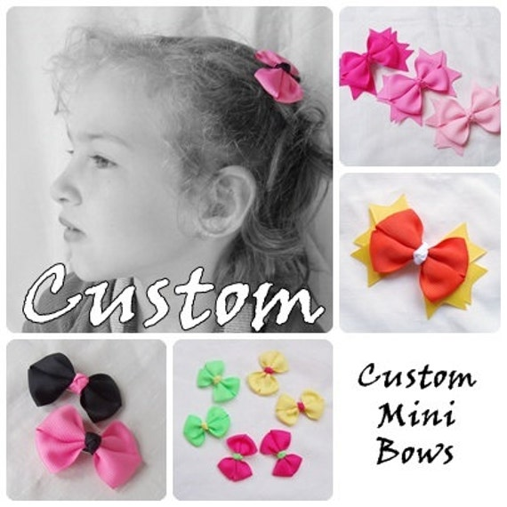 Custom Itty Bitty Bow Pair - Mini Hair Bow Clips - Choose Your Own Colors
