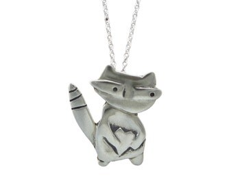 Raccoon Necklace - White Bronze Raccoon Pendant