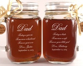 Dad Wedding Gift Mason Jars, Father of the Groom Gift, Father of the Bride Gift, Personalized Engraved Wedding Mason Jars