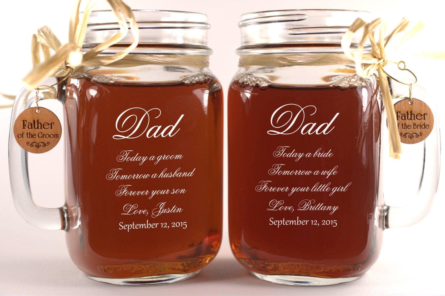 Engraved Wedding Gifts For Groom : Dad Wedding Gift Mason Jars Father of the Groom Gift Father