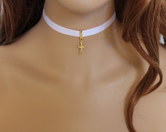 Pink Choker, Gold Cross Dainty Necklace, Thin Choker Necklace, Everyday Jewelry