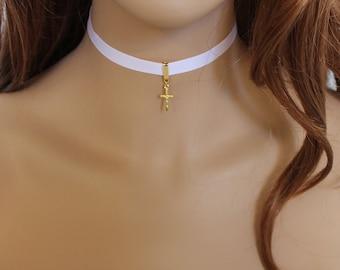 Pink Choker, Gold Cross Dainty Necklace, Thin Choker Necklace, Everyday Jewelry