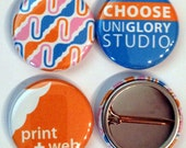 25 1  inch Full color Custom Buttons w/ pin.  We can make ANY size quantity in 3 different sizes.