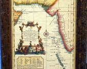 Indian Ocean and Maldive Islands Map Print of a 1740 Map on Parchment Paper