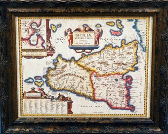 Island of Sicily Italy Map Print of a 1649 Map on Parchment Paper