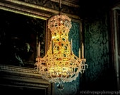 Chandelier Photo, Still Life, Paris Photography, Gold and Teal, Amber, Glow, Dramatic Photography, Dining Room Decor, Wall Art