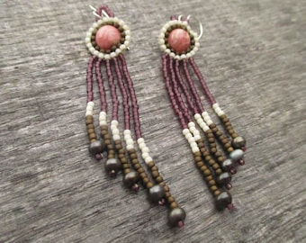 Fringe Earrings with Rhodochrosite and Pearl