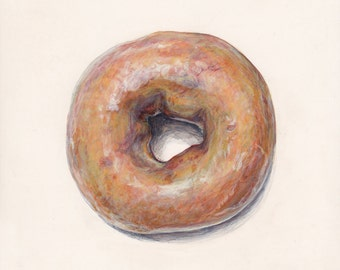 Doughnut. Original egg tempera illustration from 'The Taste of America' book.