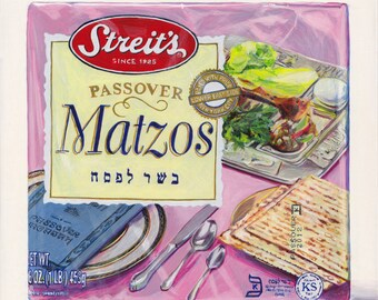 Matzos. Original egg tempera illustration from 'The Taste of America' book.