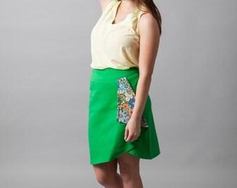 Denim, colored denim, faux-wrap skirt, skirt, barbie, high-waisted, hippie, flower child~You've Got the Love (skirt)