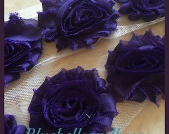 By the Yard- New Purple Eggplant Shabby Flowers/Shabby Trim/Shabby Chic --full yard approx. 14 flowers. -1/2 yard, approx. 7 flowers
