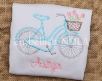 Bicycle Embroidered Monogrammed Personalized Shirt or Bodysuit