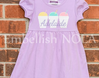 Triple Snoball Applique Embroidered Monogrammed Personalized Lavender Ruffle Dress or Girly Bubble