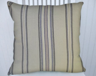 Gray Striped Decorative Pillow Cover - Throw Pillow Cover 18x18 or 20x20 or 22x22--Lavender and Grey Stripes, Accent Pillow Cover