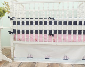 Nautical Crib Bedding with Navy Blue and Coral Pink with a Mermaid Print Sheet