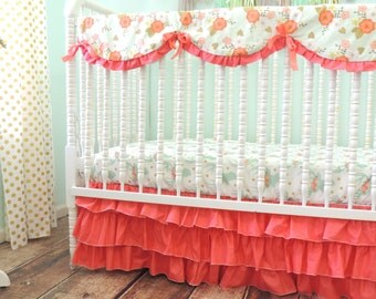 Rustic Deer Themed Crib Bedding in Mint and Coral with Solid Coral Ruffled Skirt