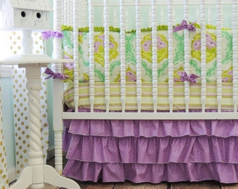 Orchid Purple and Cream Tiered Ruffled Crib Skirt, SKIRT ONLY