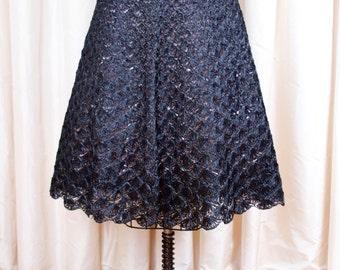 1950s Skirt // Black Crochet Raffia Grass Skirt