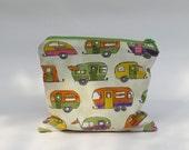 Ivory caravan zipper pouch - toiletry bag - lime green lining orange yellow pink purple