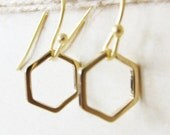Hexagon Earrings Gold Small Honeycomb Sterling Silver Modern Geometric Delicate Simple Everyday Casual Jewelry Sister BFF Friendship Gift C1