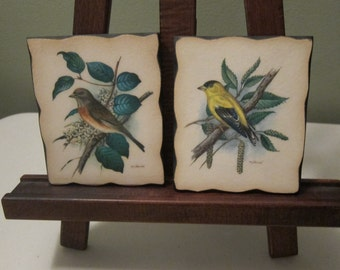 Vintage Small Plaques or Wall Hangings of Birds in their environment based on paintings by Berliner and McGinnis of Nevada City, CA