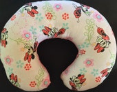 Travel Pillow - Head Neck Support - Toddler Size - Pink Disney Minnie Mouse Flowers w/ Pink Minky - Girls - READY TO SHIP
