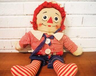 "Large Raggedy Andy doll Knickerbocker toys retro 19"""